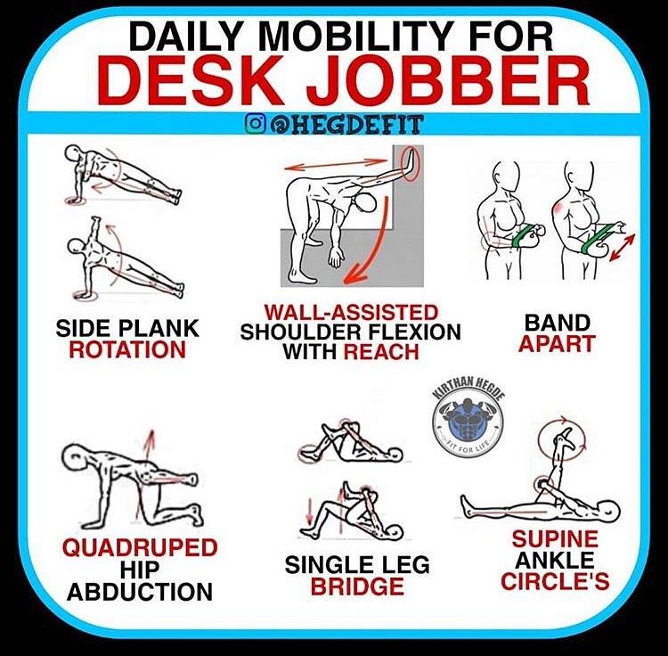 Esercizi di mobilità, stretching e rinforzo